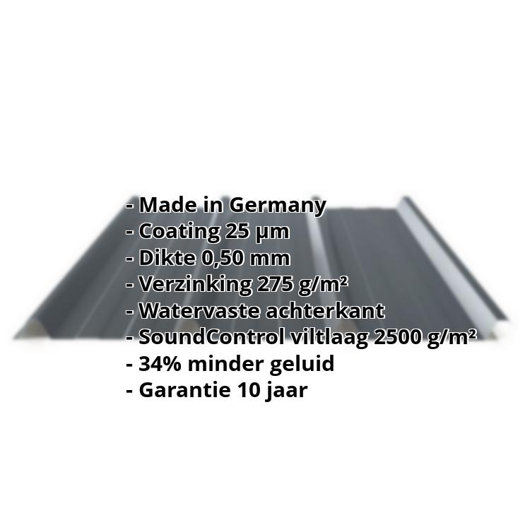 Damwandplaat PS45/1000TRAS | 25 µm Polyester | Dak | Staal 0,75 mm | Anti-Drup | Soundcontrol | 7016 - Antracietgrijs