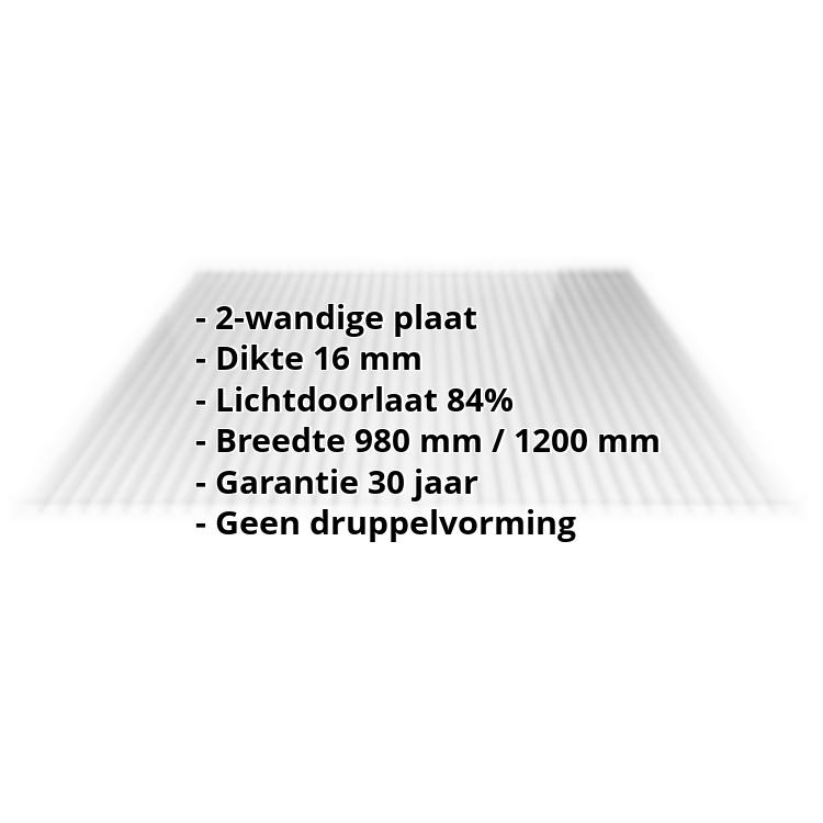 Acrylaat kanaalplaat | 16 mm | Breedte 1200 mm | Glashelder | AntiDrop