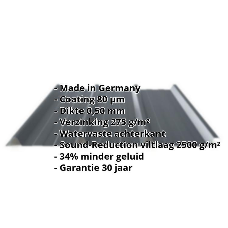 Damwandplaat PS45/1000TRAS | 80 µm Shimoco | Dak | Staal 0,50 mm | Anti-Drup | Soundcontrol | 7016 - Antracietgrijs