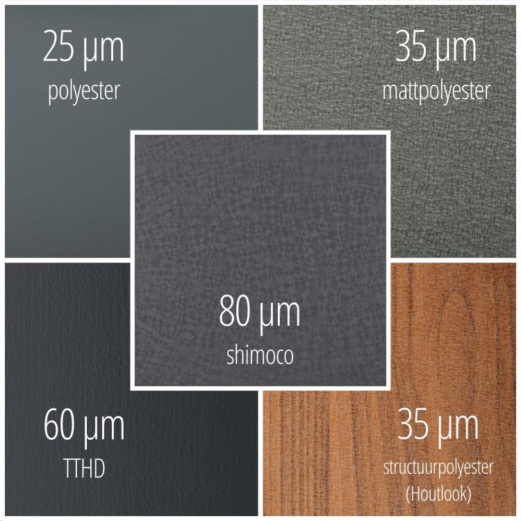 Windveer | 25 µm Polyester | 115 x 115 mm | Staal 0,50 mm | 7016 - Antracietgrijs